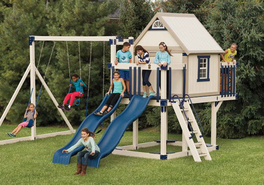 Blue Vinyl Swingset