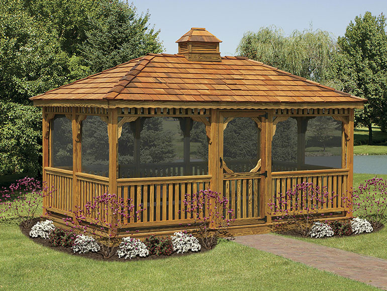 custom screened wooden patio gazebo