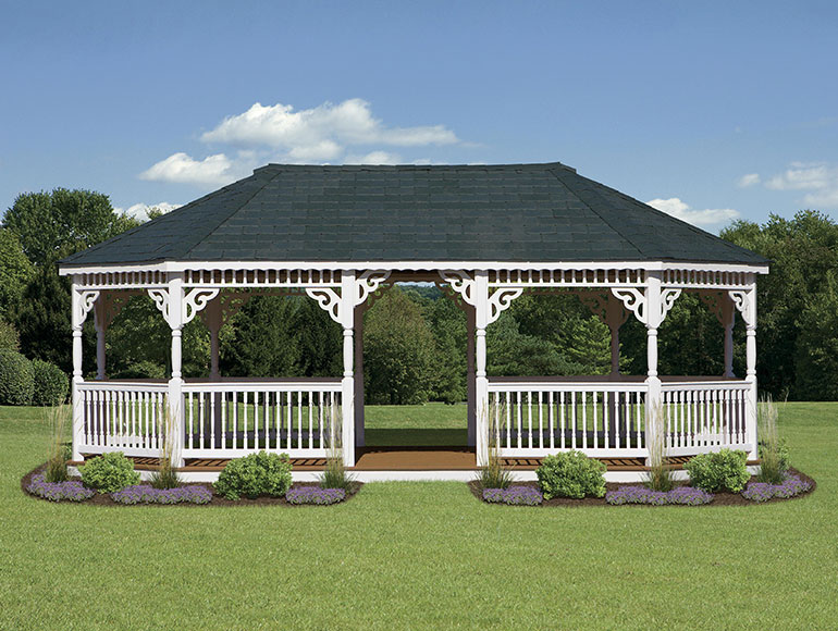 white covered vinyl gazebo