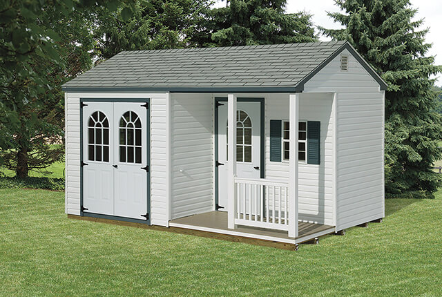 """0'x14' Vinyl A-Frame with 4'x8' Porchl This Model Features 7' High Walls with 6'4"""" High Doors"""