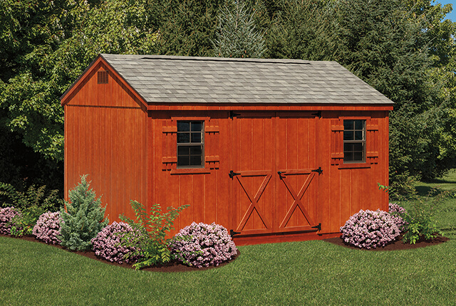 10'x14' A-Frame with Optional Mahogany Stain and Ridge Vent
