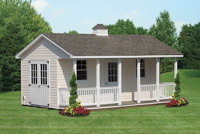 10'x20' Vinyl A-Frame with Full Length Porch and Cupola