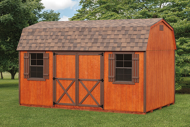 10'x16' Dutch Barn with 10'x12' with Optional Redwood Stain and Brown Trim