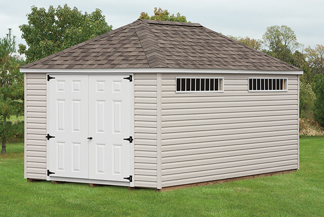 10'x16' Hip Barn with Transom Windows and Shingles over Ridge Vent
