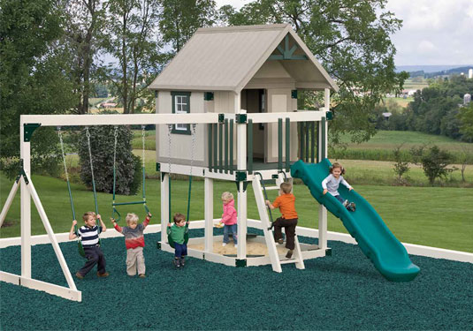 gray vinyl swingset with slide and playhouse