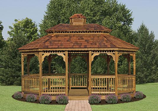 large oval outdoor wooden gazebo
